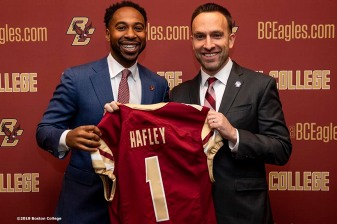 December 16, 2019, Chestnut Hill, MA: Athletic Director Martin Jarmond poses for a photograph with newly appointed Boston College Football Head Coach Jeff Hafley during his first day at Boston College in Chestnut Hill, Massachusetts Monday, December 16, 2019. (Photo by Billie Weiss/Boston College)