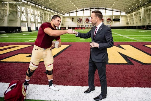 December 16, 2019, Chestnut Hill, MA: Newly appointed Boston College Football Head Coach Jeff Hafley greets a player during his first day at Boston College in Chestnut Hill, Massachusetts Monday, December 16, 2019. (Photo by Billie Weiss/Boston College)
