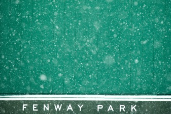 BOSTON, MA - DECEMBER 17:The Green Monster is displayed as snow falls on December 17, 2019 at Fenway Park in Boston, Massachusetts. (Photo by Billie Weiss/Boston Red Sox/Getty Images) *** Local Caption ***