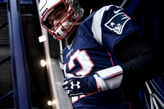 FOXBOROUGH, MA - DECEMBER 21: of the New England Patriots during the quarter of a game against the Buffalo Bills at Gillette Stadium on December 21, 2019 in Foxborough, Massachusetts. (Photo by Billie Weiss/Getty Images) *** Local Caption ***
