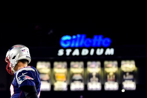 FOXBOROUGH, MA - DECEMBER 21: Tom Brady #12 of the New England Patriots looks on during the second quarter of a game against the Buffalo Bills at Gillette Stadium on December 21, 2019 in Foxborough, Massachusetts. (Photo by Billie Weiss/Getty Images) *** Local Caption *** Tom Brady