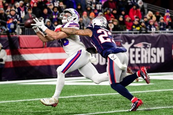 FOXBOROUGH, MASSACHUSETTS - DECEMBER 21: Dawson Knox #88 of the Buffalo Bills catches a 33-yard pass during the second quarter against Patrick Chung #23 of the New England Patriots in the game at Gillette Stadium on December 21, 2019 in Foxborough, Massachusetts. (Photo by Billie Weiss/Getty Images)