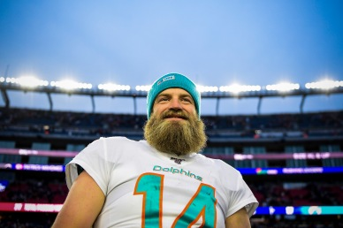 FOXBOROUGH, MA - DECEMBER 29: Ryan Fitzpatrick #14 of the Miami Dolphins reacts after a game against the New England Patriots at Gillette Stadium on December 29, 2019 in Foxborough, Massachusetts. (Photo by Billie Weiss/Getty Images) *** Local Caption *** Ryan Fitzpatrick
