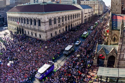 BOSTON, MASSACHUSETTS - FEBRUARY 05: Duck boats line Boylston Street as the New England Patriots Super Bowl Victory Parade is held on February 05, 2019 in Boston, Massachusetts. (Photo by Billie Weiss/Getty Images)