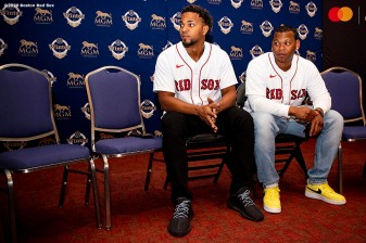 SPRINGFIELD, MA - JANUARY 17: Xander Bogaerts #2 and Rafael Devers #11 of the Boston Red Sox look on during the 2020 Red Sox Winter Weekend on January 17, 2020 at MGM Springfield and MassMutual Center in Springfield, Massachusetts. (Photo by Billie Weiss/Boston Red Sox/Getty Images) *** Local Caption *** Xander Bogaerts; Rafael Devers