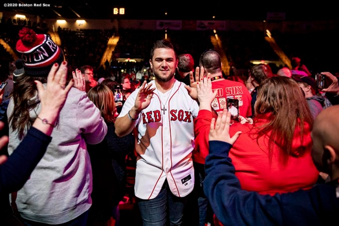 SPRINGFIELD, MA - JANUARY 17: Michael Chavis #63 of the Boston Red Sox high fives fans as he is introduced during the Boston Red Sox NESN Town Hall during the 2020 Red Sox Winter Weekend on January 17, 2020 at MGM Springfield and MassMutual Center in Springfield, Massachusetts. (Photo by Billie Weiss/Boston Red Sox/Getty Images) *** Local Caption *** Michael Chavis