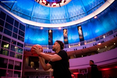 SPRINGFIELD, MA - JANUARY 17: Xander Bogaerts #2 of the Boston Red Sox plays basketball during an event at the Naismith Memorial Basketball Hall of Fame during the 2020 Red Sox Winter Weekend on January 17, 2020 at MGM Springfield and MassMutual Center in Springfield, Massachusetts. (Photo by Billie Weiss/Boston Red Sox/Getty Images) *** Local Caption *** Xander Bogaerts