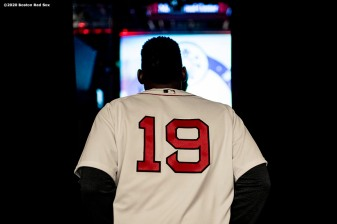 SPRINGFIELD, MA - JANUARY 18: Jackie Bradley Jr. #19 of the Boston Red Sox walks through the hall during the 2020 Red Sox Winter Weekend on January 18, 2020 at MGM Springfield and MassMutual Center in Springfield, Massachusetts. (Photo by Billie Weiss/Boston Red Sox/Getty Images) *** Local Caption *** Jackie Bradley Jr.