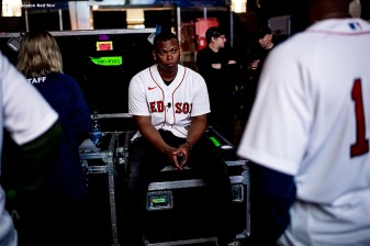 SPRINGFIELD, MA - JANUARY 18: Rafael Devers #11 of the Boston Red Sox looks on backstage during the 2020 Red Sox Winter Weekend on January 18, 2020 at MGM Springfield and MassMutual Center in Springfield, Massachusetts. (Photo by Billie Weiss/Boston Red Sox/Getty Images) *** Local Caption *** Rafael Devers