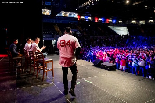 SPRINGFIELD, MA - JANUARY 18: Former designated hitter David Ortiz of the Boston Red Sox is introduced during a 'Panel of Champions' panel during the 2020 Red Sox Winter Weekend on January 18, 2020 at MGM Springfield and MassMutual Center in Springfield, Massachusetts. (Photo by Billie Weiss/Boston Red Sox/Getty Images) *** Local Caption *** David Ortiz