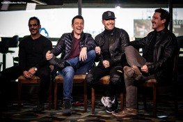 January 29, 2020, Boston, MA: Danny Wood, Jordan Knight, Donnie Wahlberg, and Jonathan Knight of New Kids On The Block react during a press event for their upcoming 2020 concert at Fenway Park in Boston, Massachusetts Wednesday, January 29, 2020. (Photo by Billie Weiss/Boston Red Sox)