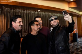 January 29, 2020, Boston, MA: Jonathan Knight, Danny Wood, Jordan Knight, and Donnie Wahlberg of New Kids On The Block pose for a selfie photograph during a press event for their upcoming 2020 concert at Fenway Park in Boston, Massachusetts Wednesday, January 29, 2020. (Photo by Billie Weiss/Boston Red Sox)