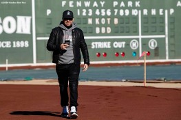 January 29, 2020, Boston, MA: Donnie Wahlberg of New Kids On The Block walks in front of the Green Monster during a press event for their upcoming 2020 concert at Fenway Park in Boston, Massachusetts Wednesday, January 29, 2020. (Photo by Billie Weiss/Boston Red Sox)