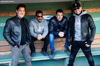 January 29, 2020, Boston, MA: Jonathan Knight, Danny Wood, Jordan Knight, and Donnie Wahlberg of New Kids On The Block pose in the dugout during a press event for their upcoming 2020 concert at Fenway Park in Boston, Massachusetts Wednesday, January 29, 2020. (Photo by Billie Weiss/Boston Red Sox)
