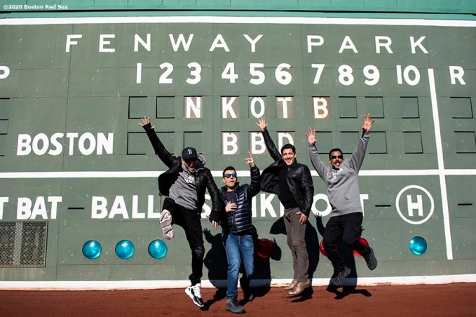 January 29, 2020, Boston, MA: Donnie Wahlberg, Jordan Knight, Jonathan Knight, and Danny Wood of New Kids On The Block pose in front of the Green Monster during a press event for their upcoming 2020 concert at Fenway Park in Boston, Massachusetts Wednesday, January 29, 2020. (Photo by Billie Weiss/Boston Red Sox)