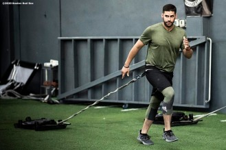 DAVIE, FL - DECEMBER 3: J.D. Martinez #28 of the Boston Red Sox lifts during an off-season workout on December 3, 2019 at Bommarito Performance Systems in Davie, Florida. (Photo by Billie Weiss/Boston Red Sox/Getty Images) *** Local Caption *** J.D. Martinez