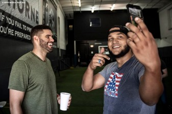 DAVIE, FL - DECEMBER 3: Eduardo Rodriguez #57 and J.D. Martinez #28 of the Boston Red Sox pose for a selfie photograph as they work out during an off-season workout on December 3, 2019 at Bommarito Performance Systems in Davie, Florida. (Photo by Billie Weiss/Boston Red Sox/Getty Images) *** Local Caption *** J.D. Martinez; Eduardo Rodriguez