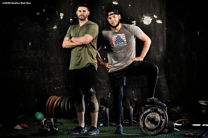 DAVIE, FL - DECEMBER 3: J.D. Martinez #28 and Eduardo Rodriguez #57 of the Boston Red Sox pose for a portrait during an off-season workout on December 3, 2019 at Bommarito Performance Systems in Davie, Florida. (Photo by Billie Weiss/Boston Red Sox/Getty Images) *** Local Caption *** J.D. Martinez; Eduardo Rodriguez
