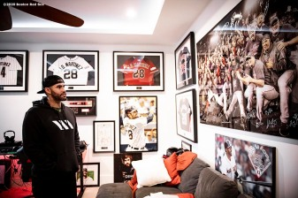 FORT LAUDERDALE, FL - DECEMBER 3: J.D. Martinez #28 of the Boston Red Sox tours his memorabilia room at his home on December 3, 2019 at in Fort Lauderdale, Florida. (Photo by Billie Weiss/Boston Red Sox/Getty Images) *** Local Caption *** J.D. Martinez