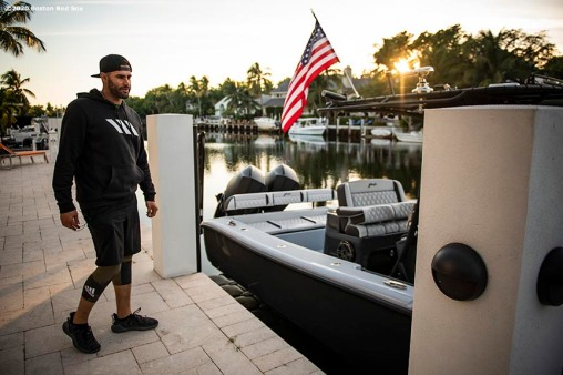 FORT LAUDERDALE, FL - DECEMBER 3: J.D. Martinez #28 of the Boston Red Sox looks at his boat at his home on December 3, 2019 at in Fort Lauderdale, Florida. (Photo by Billie Weiss/Boston Red Sox/Getty Images) *** Local Caption *** J.D. Martinez