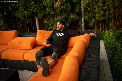FORT LAUDERDALE, FL - DECEMBER 3: J.D. Martinez #28 of the Boston Red Sox lounges outside at his home on December 3, 2019 at in Fort Lauderdale, Florida. (Photo by Billie Weiss/Boston Red Sox/Getty Images) *** Local Caption *** J.D. Martinez