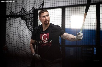 WESTON, FL - DECEMBER 3: Christian Vazquez #7 of the Boston Red Sox works in the batting cage during an off-season workout on December 3, 2019 at in Weston, Florida. (Photo by Billie Weiss/Boston Red Sox/Getty Images) *** Local Caption *** Christian Vazquez