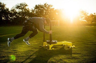 WESTON, FL - DECEMBER 3: Christian Vazquez #7 of the Boston Red Sox pushes a sled during an early morning off-season workout on December 3, 2019 at in Weston, Florida. (Photo by Billie Weiss/Boston Red Sox/Getty Images) *** Local Caption *** Christian Vazquez