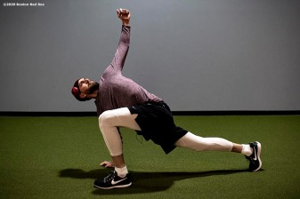 BROOKFIELD, CT - DECEMBER 20: Matt Barnes #32 of the Boston Red Sox stretches during an off-season workout on December 20, 2019 at Iron Factory Gym in Brookfield, Connecticut. (Photo by Billie Weiss/Boston Red Sox/Getty Images) *** Local Caption *** Matt Barnes