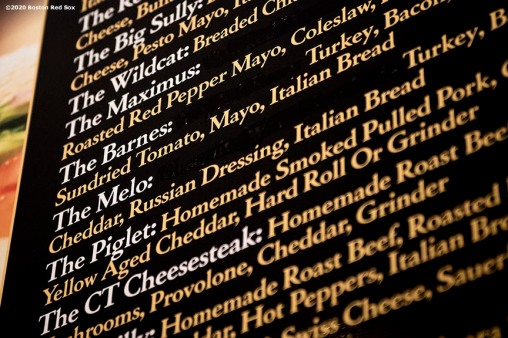 NEWTOWN, CT - DECEMBER 20: A sandwich named after Matt Barnes #32 of the Boston Red Sox is displayed on the menu on December 20, 2019 at Kaptsein's Deli in Newtown, Connecticut. (Photo by Billie Weiss/Boston Red Sox/Getty Images) *** Local Caption *** Matt Barnes