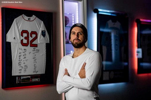 NEWTOWN, CT - DECEMBER 20: Matt Barnes #32 of the Boston Red Sox poses for a portrait in front of his memorabilia on December 20, 2019 at his home in Newtown, Connecticut. (Photo by Billie Weiss/Boston Red Sox/Getty Images) *** Local Caption *** Matt Barnes