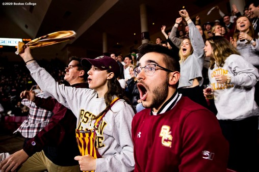 February 4, 2020, Chestnut Hill, MA: Fans cheer during a game between Boston College and Duke University at Conte Forum at Boston College in Chestnut Hill, Massachusetts Tuesday, February 4, 2020. (Photo by Billie Weiss/Boston College)