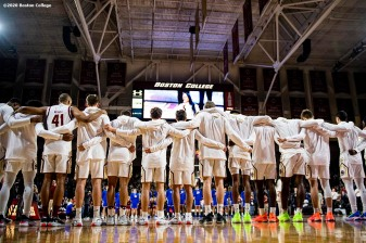 February 4, 2020, Chestnut Hill, MA: Members of Boston College line up before a game against Duke University at Conte Forum at Boston College in Chestnut Hill, Massachusetts Tuesday, February 4, 2020. (Photo by Billie Weiss/Boston College)
