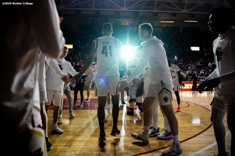 February 4, 2020, Chestnut Hill, MA: Members of Boston College are introduced before a game against Duke University at Conte Forum at Boston College in Chestnut Hill, Massachusetts Tuesday, February 4, 2020. (Photo by Billie Weiss/Boston College)