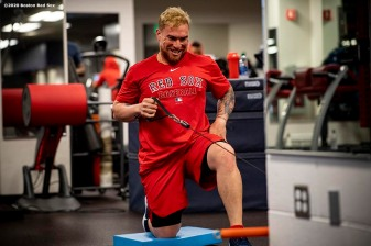 FT. MYERS, FL - FEBRUARY 15: Christian Vazquez #7 of the Boston Red Sox works out during a team workout on February 15, 2020 at JetBlue Park at Fenway South in Fort Myers, Florida. (Photo by Billie Weiss/Boston Red Sox/Getty Images) *** Local Caption *** Christian Vazquez