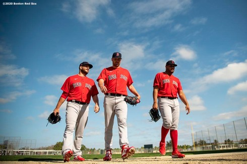 FT. MYERS, FL - FEBRUARY 15: Ryan Brasier #70, Heath Hembree #37, and Darwinzon Hernandez #63 of the Boston Red Sox walk off the field during a team workout on February 15, 2020 at JetBlue Park at Fenway South in Fort Myers, Florida. (Photo by Billie Weiss/Boston Red Sox/Getty Images) *** Local Caption *** Ryan Brasier; Heath Hembree; Darwinzon Hernandez