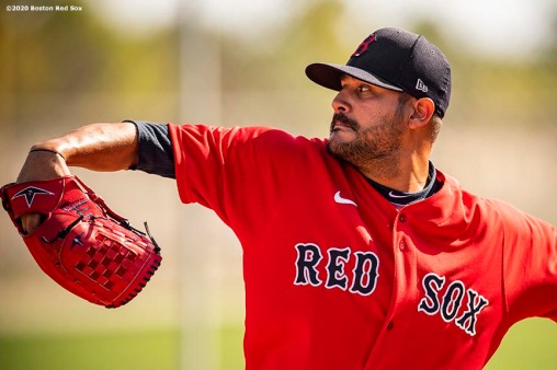 FT. MYERS, FL - FEBRUARY 15: Martin Perez #54 of the Boston Red Sox throws during a team workout on February 15, 2020 at JetBlue Park at Fenway South in Fort Myers, Florida. (Photo by Billie Weiss/Boston Red Sox/Getty Images) *** Local Caption *** Martin Perez