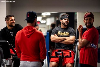 FT. MYERS, FL - FEBRUARY 16: Nathan Eovaldi #17, Brandon Workman #44, Mitch Moreland #18, and Matt Barnes #32 of the Boston Red Sox talk during a team workout on February 16, 2020 at jetBlue Park at Fenway South in Fort Myers, Florida. (Photo by Billie Weiss/Boston Red Sox/Getty Images) *** Local Caption *** Nathan Eovaldi; Brandon Workman; Mitch Moreland; Matt Barnes