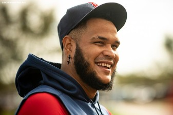FT. MYERS, FL - FEBRUARY 16: Eduardo Rodriguez #57 of the Boston Red Sox reacts during a team workout on February 16, 2020 at jetBlue Park at Fenway South in Fort Myers, Florida. (Photo by Billie Weiss/Boston Red Sox/Getty Images) *** Local Caption *** Eduardo Rodriguez