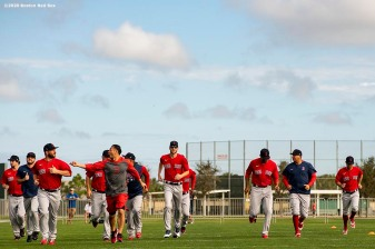 FT. MYERS, FL - FEBRUARY 16: Members of the Boston Red Sox warm up during a team workout on February 16, 2020 at jetBlue Park at Fenway South in Fort Myers, Florida. (Photo by Billie Weiss/Boston Red Sox/Getty Images) *** Local Caption ***