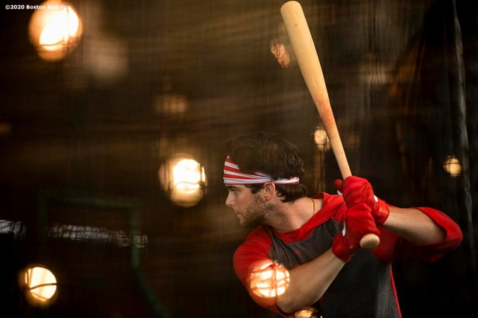 FT. MYERS, FL - FEBRUARY 16: Andrew Benintendi #16 of the Boston Red Sox takes batting practice during a team workout on February 16, 2020 at jetBlue Park at Fenway South in Fort Myers, Florida. (Photo by Billie Weiss/Boston Red Sox/Getty Images) *** Local Caption *** Andrew Benintendi