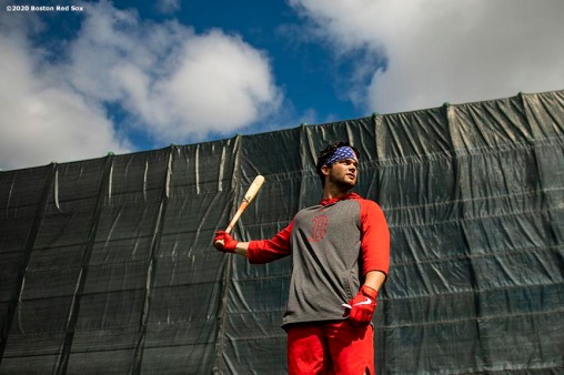FT. MYERS, FL - FEBRUARY 16: Andrew Benintendi #16 of the Boston Red Sox looks on during a team workout on February 16, 2020 at jetBlue Park at Fenway South in Fort Myers, Florida. (Photo by Billie Weiss/Boston Red Sox/Getty Images) *** Local Caption *** Andrew Benintendi