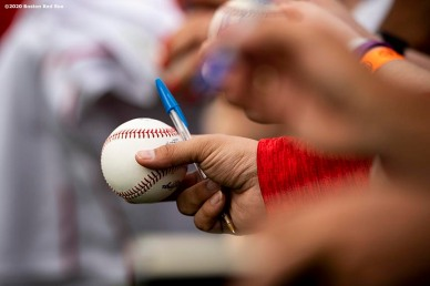FT. MYERS, FL - FEBRUARY 16: Fans reach for autographs during a Boston Red Sox team workout on February 16, 2020 at jetBlue Park at Fenway South in Fort Myers, Florida. (Photo by Billie Weiss/Boston Red Sox/Getty Images) *** Local Caption ***