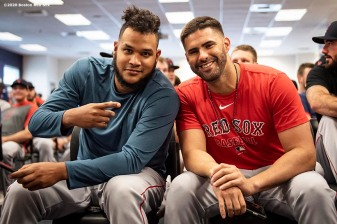 FT. MYERS, FL - FEBRUARY 17: Eduardo Rodriguez #57 and J.D. Martinez #28 of the Boston Red Sox pose for a photograph during a team meeting before a team workout on February 17, 2020 at jetBlue Park at Fenway South in Fort Myers, Florida. (Photo by Billie Weiss/Boston Red Sox/Getty Images) *** Local Caption *** Eduardo Rodriguez; J.D. Martinez;