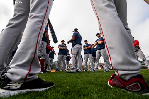 FT. MYERS, FL - FEBRUARY 17: Members of the Boston Red Sox come together during a team workout on February 17, 2020 at jetBlue Park at Fenway South in Fort Myers, Florida. (Photo by Billie Weiss/Boston Red Sox/Getty Images) *** Local Caption ***