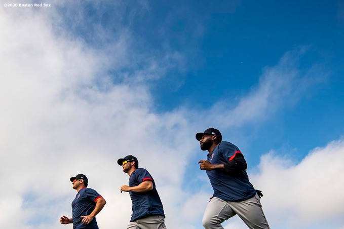 FT. MYERS, FL - FEBRUARY 17: Tommy Joseph, Andrew Benintendi #16, and Jackie Bradley Jr. #19 of the Boston Red Sox run sprints during a team workout on February 17, 2020 at jetBlue Park at Fenway South in Fort Myers, Florida. (Photo by Billie Weiss/Boston Red Sox/Getty Images) *** Local Caption *** Tommy Joseph; Andrew Benintendi; Jackie Bradley Jr.
