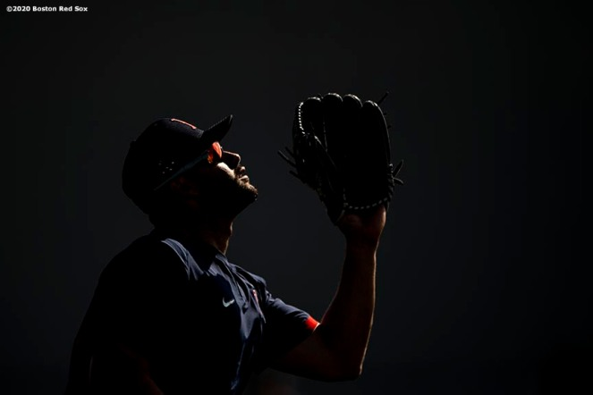 FT. MYERS, FL - FEBRUARY 17: J.D. Martinez #28 of the Boston Red Sox fields a fly ball during a team workout on February 17, 2020 at jetBlue Park at Fenway South in Fort Myers, Florida. (Photo by Billie Weiss/Boston Red Sox/Getty Images) *** Local Caption *** J.D. Martinez