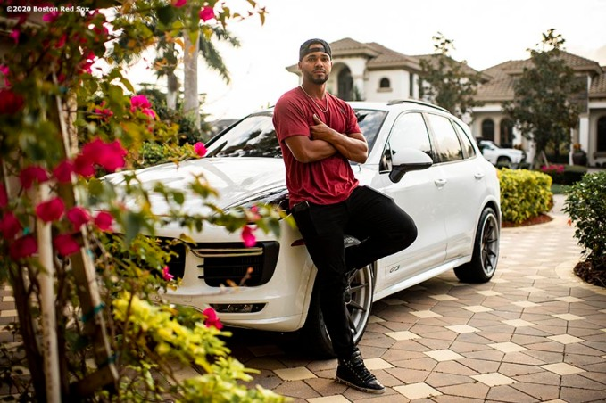 FT. MYERS, FL - FEBRUARY 17: Xander Bogaerts #2 of the Boston Red Sox poses for a portrait with his Porsche before riding into the ballpark before a team workout on February 17, 2020 at jetBlue Park at Fenway South in Fort Myers, Florida. (Photo by Billie Weiss/Boston Red Sox/Getty Images) *** Local Caption *** Xander Bogaerts
