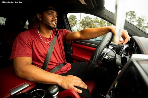 FT. MYERS, FL - FEBRUARY 17: Xander Bogaerts #2 of the Boston Red Sox drives into the ballpark before a team workout on February 17, 2020 at jetBlue Park at Fenway South in Fort Myers, Florida. (Photo by Billie Weiss/Boston Red Sox/Getty Images) *** Local Caption *** Xander Bogaerts