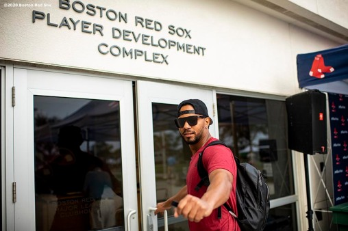 FT. MYERS, FL - FEBRUARY 17: Xander Bogaerts #2 of the Boston Red Sox arrives to the ballpark before a team workout on February 17, 2020 at jetBlue Park at Fenway South in Fort Myers, Florida. (Photo by Billie Weiss/Boston Red Sox/Getty Images) *** Local Caption *** Xander Bogaerts