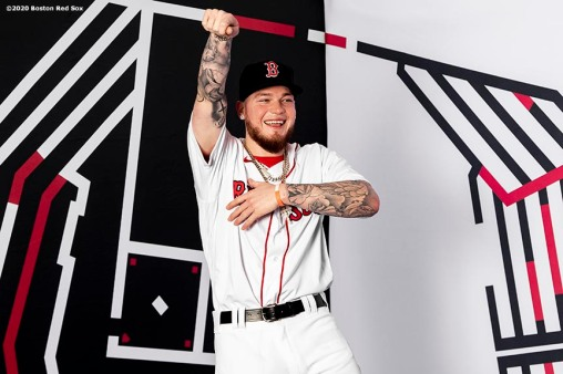 FT. MYERS, FL - FEBRUARY 19: Alex Verdugo #99 of the Boston Red Sox poses for a portrait during team photo day on February 19, 2020 at jetBlue Park at Fenway South in Fort Myers, Florida. (Photo by Billie Weiss/Boston Red Sox/Getty Images) *** Local Caption *** Alex Verdugo